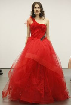 Red Bridal Ball Gowns For a Christmas Themed Wedding. #weddings #dresses #red #christmas