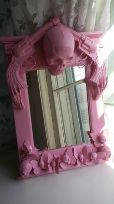 Pink skull butterfly and guns mirror by CheeseCrafty on Etsy, $39.00