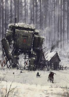 Game Art – Jakub Różalski: Soviet-Polish war and giant mechs – Cyberpunk Gallery Science Fiction Kunst, Arte Cyberpunk, Art Graphique, Fantasy Landscape, Sci Fi Fantasy, Sci Fi Art, Dieselpunk, Oeuvre D'art, Game Art
