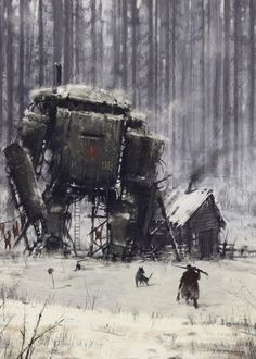 1920 - retired veteran, Jakub Rozalski on ArtStation at https://www.artstation.com/artwork/1920-retired-veteran