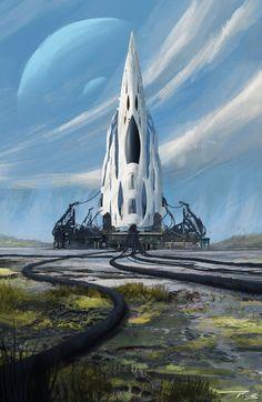 Future арт, город, Ракета, фантастика, Sci-Fi