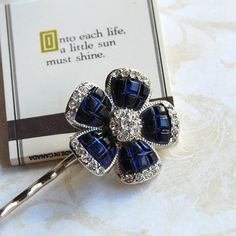 Sapphire Blue Rhinestone Flower Bobby Pin by emmjeyessvintage, $22.00 Deep, Upcycled Vintage, Crown Jewels, Silver Hair, Blue Flowers, Blue Sapphire, Bobby Pins, Vintage Jewelry, My Etsy Shop