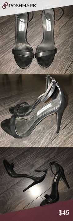 Steve Madden Black Heeled Sandals 3.5 inch strappy heel. I have only worn once to a wedding. Great condition! Steve Madden Shoes Heels