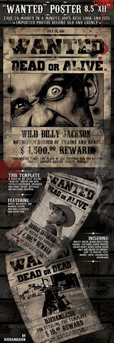 9 Free \ Premium Wanted Poster Templates (PSD) Posters - most wanted poster templates