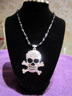 Serious Skinny Skull Crossbone Necklace-$40.00-buy it at Rack Bling on Etsy.com