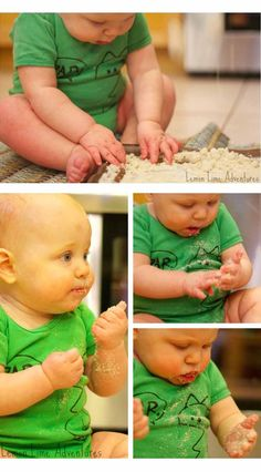 Baby Safe Cloud Dough- this dough makes for some fun sensory play for babies.
