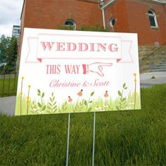 Help guests find their way. Use our Homespun Charm Wedding Directional Sign to mark the route to your Wedding and/or Reception. Homespun charm design features playful, fun, and festive, the banners, flags, and wild flowers throughout this combine to evoke the mood of a refreshing garden party.