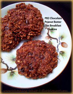 pb2 chocolate peanut butter oat breakfast cookies ~ sweetened with banana & applesauce ~ flour, egg & dairy free!
