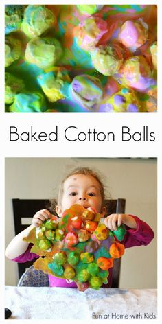 Baked Cotton Balls and Cotton Ball Sensory from Fun at Home with Kids