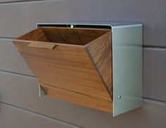 Modern Mailbox, Large Teak and Stainless Steel Mailbox, Wall Mounted mailbox. $325.00, via Etsy.