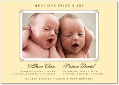 Twin Birth Announcements Wording