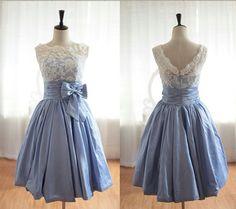 Vintage Inspired Lace BlueTaffeta Wedding Dress Bridal Gown V Back Scalloped Edge Prom Dress  Knee Tea Short Wedding Dress. $149.00, via Etsy.