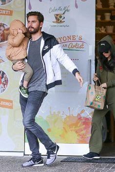 Scott Disick wearing Saint Laurent Slim Fit 15.5 Hem Washed Denim Jeans, Audemars Piguet Royal Oak Jumbo Chronograph Automatic 18K Rose Gold, Nike Windrunner Jacket