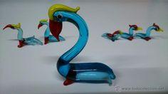 Conjunto de seis pelícanos en cristal de murano en miniatura.