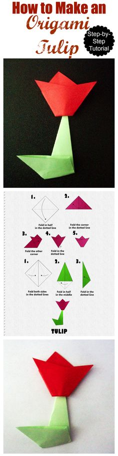 How to Make an Origami Tulip Tutorial, a step by step tutorial. How to Make an Origami Tulip Tutorial, a step by step tutorial. Diy Origami, Origami Simple, Origami Paper Art, Useful Origami, Origami Ideas, Origami Design, Paper Crafts, Flower Step By Step, Activities For Kids