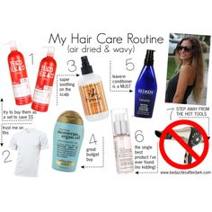 """""""My Hair Care Routine - Wavy Air Dried"""" by bedazzlesafterdark on Polyvore"""