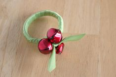 Christmas wreath napkin ring made from a shower curtain hook!