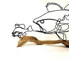 Fish Wire Sculpture Bass Wire Sculpture Wire Folk by WiredbyBud