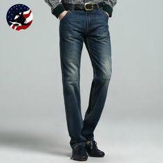 Men Slim Fit Straight Leg Classic Jeans 99% Cotton