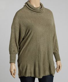 Take a look at this Olive Cowl Neck Dolman Top - Plus by Pink Ocean on #zulily today!