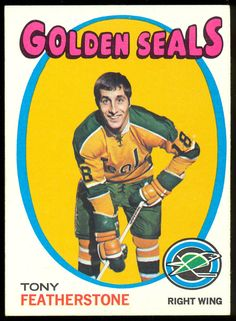 1971 72 TOPPS HOCKEY #106 TONY FEATHERSTONE NM CALIFORNIA GOLDEN SEALS FREE SHIP #goldenseals Hockey Cards, Baseball Cards, Hockey Players, Ice Hockey, Seals, Nhl, Sticks, Nostalgia, California