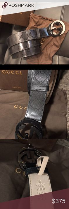 ❤️ New Gucci Black Signature Impreme Shiny Belt ❤️ ❤️ New Gucci Black Signature Impreme Shiny Belt ❤️  Comes with box bag and dust bag   Satisfaction guaranteed   Ships same day in most scenarios Gucci Accessories Belts