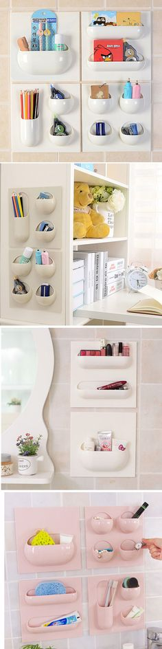 US$6.99 Wall Storage Basket Bathroom Kitchen Study Creative Hanger Holder Multifunctional Box Organizer