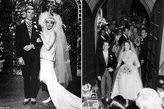 """À esquerda: Julie Andrews com James Fox em """"Thoroughly Modern Millie"""" (1967). À direita: com o marido Tony Walton, 1959."""
