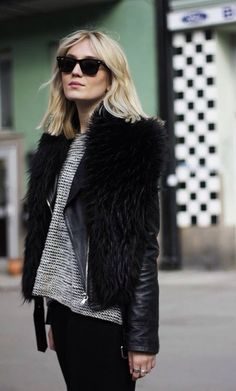 Black Leather faux fur, and the wavy blonde bob