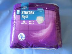 Boots Staydry Night XL pack of 10 Adult incontinence pull up pads nappy diapers - theninestarshop Shops, Diapers, Health And Beauty, Packing, Night, Bag Packaging, Tents, Retail, Retail Stores