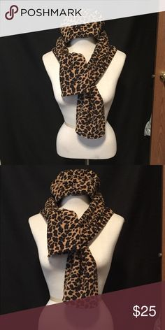 Animal print is the new black! Fleece scarf & hat! Cute leopard print hat & scarf combo would look lovely with a leather jacket, peacoat, or other winter-style coat. Made from warm fleece material and good quality brand. Very gently used! St. John's Bay Accessories Scarves & Wraps