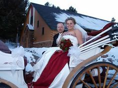 Beautiful bride on her way to the Chapel by a horse and buggy on a beautiful snowy white CO day.  The Historic Pinecrest Event Center, Colorado Springs Wedding Venue, Denver Wedding Venue, Palmer Lake Wedding Venue, Monument Wedding Venue, Colorado Rustic Mountain Wedding Venue, Winter Weddings    http://www.pinecresteventcenter.com