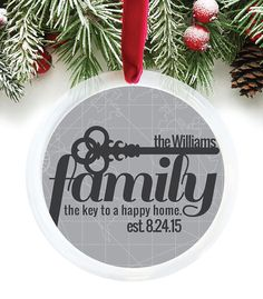 Personalized Family Ornament, Family Name Ornament, Christmas Gift, Personalize Ornament, Holiday Gift Idea, Custom Ornament // C-P63-OR AA3