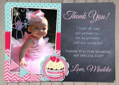 Girls Thank You Card / Printable Download by InvitaitonsByLittleP