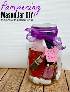 Pampering Mason Jar DIY 25+ Mason Jar Gift Ideas | NoBiggie.net