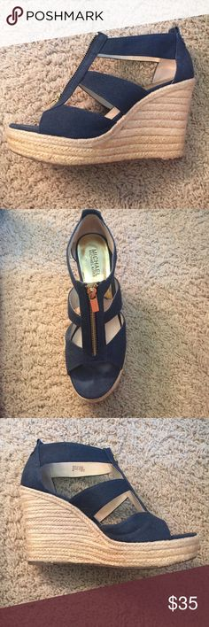 Wedges Navy blue, gold accents. Worn once. Too big. KORS Michael Kors Shoes Wedges