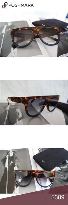 Celine shadow navy blue /brown Hombre sunglasses NWOT Chic Brand new Celine Shadow CL 41026/S Flat Top Sunglasses.  A classic pair by Celine, the best selling pair in the world.  Size 58-16-150.  Comes with Celine case and cloth.  100% authentic, made in Italy. Celine Accessories Sunglasses