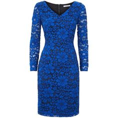 Fenn Wright Manson Aura Lace Dress, Blue (£109) ❤ liked on Polyvore featuring dresses, gowns, long sleeve dress, lace gown, long sleeve ball gowns, floral maxi dress and long sleeve lace gown