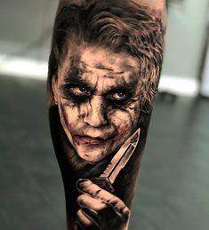 The Joker Tattoo. Tattoos 3d, Forarm Tattoos, Best Sleeve Tattoos, Body Art Tattoos, Evil Clown Tattoos, Scary Tattoos, Tattoos For Guys, Joker Card Tattoo, Batman Tattoo