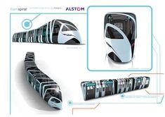 public transportation vehicle, Transpiral, Tramway, tram, Spiral Structure, futuristic design #railway #rollingstock #tram