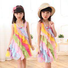 11.95$  Buy here - http://alioha.shopchina.info/go.php?t=32802580522 - 4-12T Summer Girls Dress 2017 Chiffon Candy Rainbow Toddler Girl Dresses Strap Beach Princess Dress for Girls Clothes  #buymethat