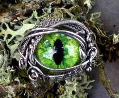 SOLD Gothic Steampunk Green Evil Eye Ring by twistedsisterarts