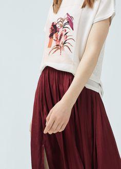 Camiseta tejidos combinados - Camisetas de Mujer | MANGO España