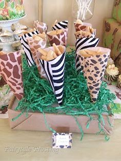 Jungle Safari snack cups (scrapbook paper)