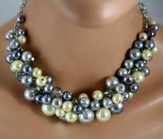 Grays and yellow chunky bib necklace bridesmaids by bazinedezine