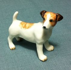 Miniature Ceramic Dog Jack Russell Terrier by thaicraftvillage