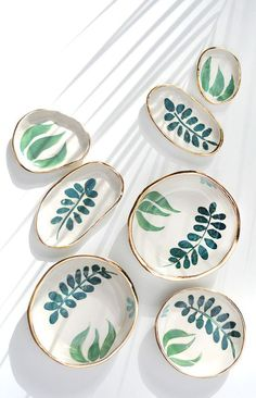Handmade Ceramics by LiquoriceMoonStudios - These would make FANTASTIC jewelry display plates…Hand Painted Gold Rimmed Stoneware Dishes Ceramic Plates, Ceramic Pottery, Stoneware Clay, Slab Pottery, Pottery Art, Ceramic Painting, Ceramic Art, Pottery Painting Ideas, Ceramic Decor