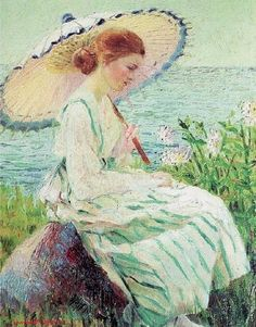 Parasols were popular in the genre paintings. This one is by Lucy Drake Marlow (American artist, 1890–1978) Parasol