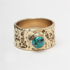 Brass finger ring with gemstone by Pantheia