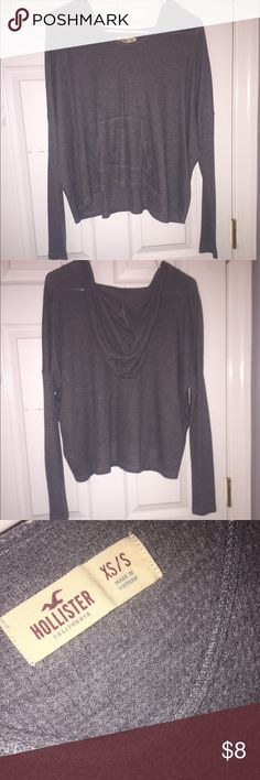 Hollister Long Sleeve Top with Hoodie Dark gray (picture is true to color). Front pocket. Hoodie. Thin, lightweight thermal material. Product is washed. **SIZE XS/S Hollister Tops Tees - Long Sleeve